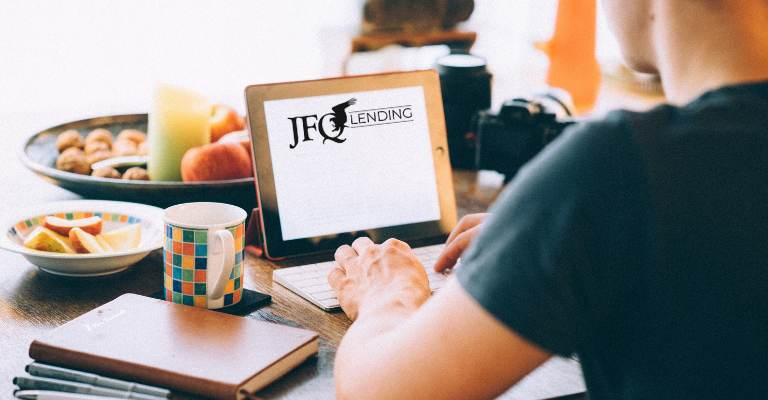 JFQ Lending, Inc website researching loan types for purchase and refinance